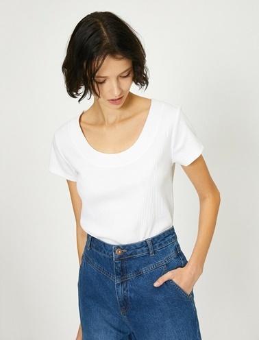 Koton Oyuk Yaka Dar Kesim T-Shirt Beyaz